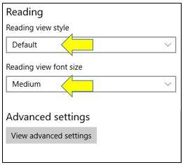 Reading View in Microsoft Edge